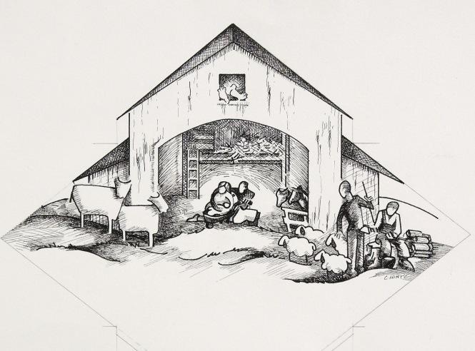 """Contemporary Nativity"" Pen & Ink"